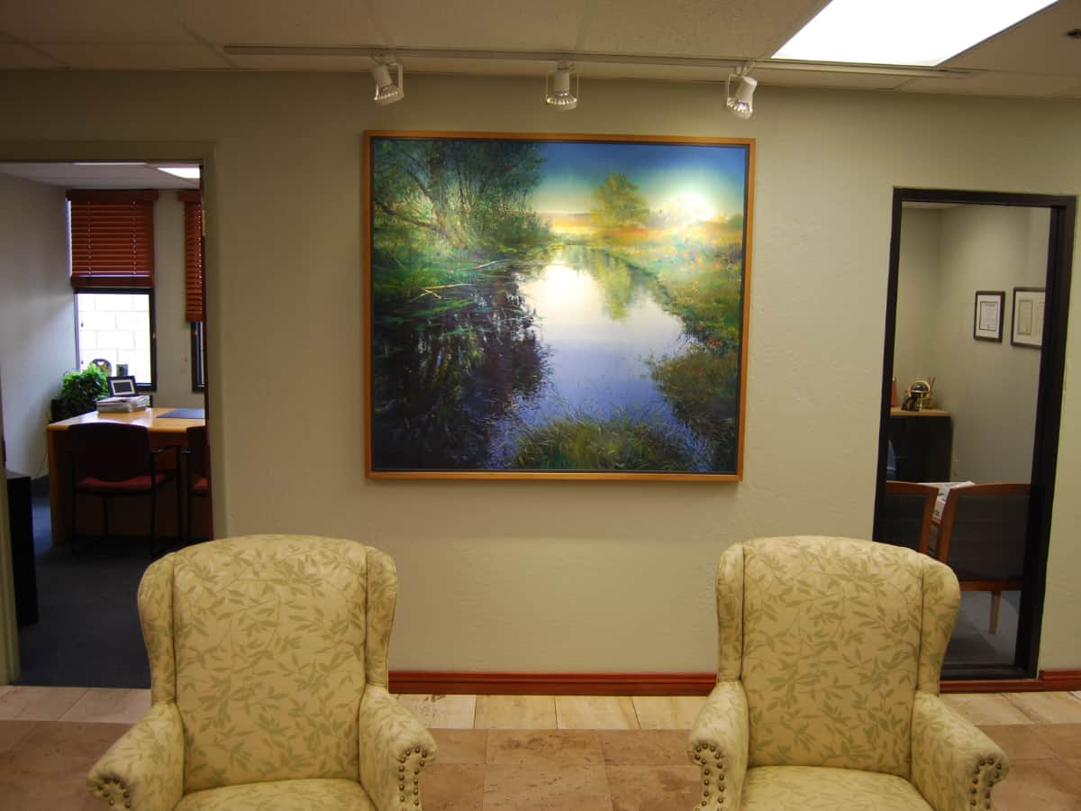 One of two Robert Marshall paintings at Gillespie, Shields & Durrant law office in Phoenix <br> photographs: internet