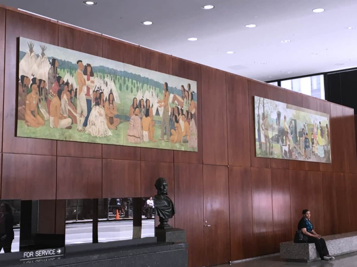 """The """"Great Indian Council of 1833"""" and """"Advent of the Pioneer, 1851"""" murals are reunited at the Chicago Loop Station <br> photographs: internet"""