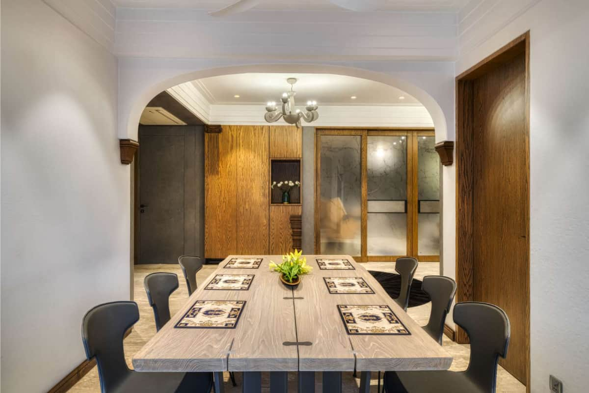 Rattan finish on walls and cornices help in continuing the theme <br> photographs: Pooja Bihani, Spaces and Design