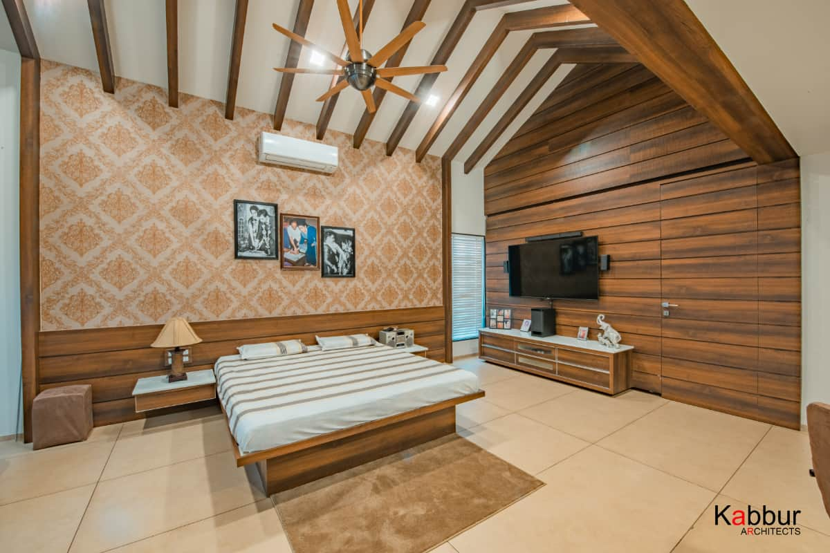 A view of the master bedroom  <br> photographs: Deepak Sondur photography