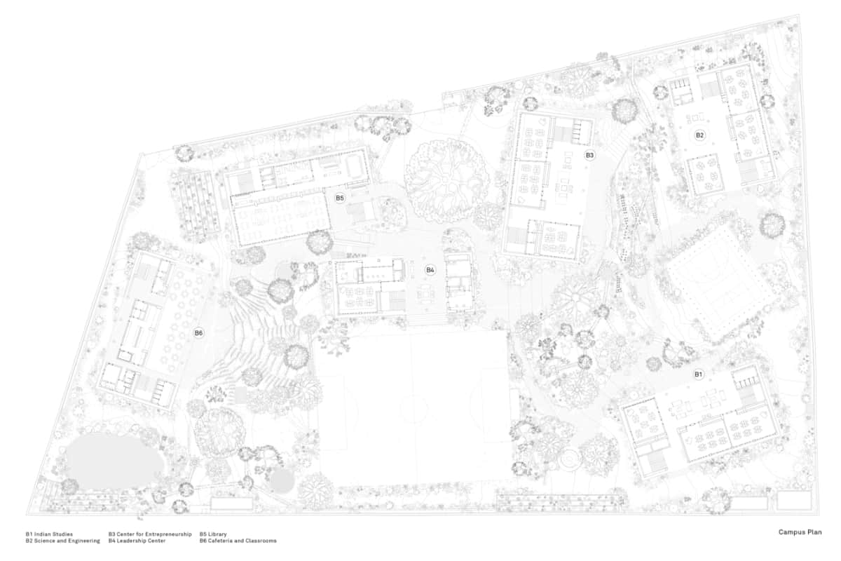 Site plan, Avasara Academy, Lavale; Case Design <br> photographs: Ariel Huber