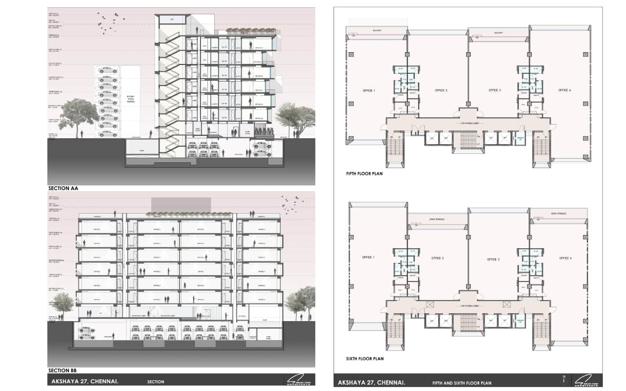 Sections and Floor plans <br> Sanjay Puri Architects